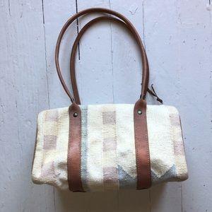 Vintage Boho Kilim Carpet Bag Barrel Shape